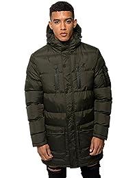 New Men Kangol Branded Padded Lined Zip Long Length Jacket Hooded Winter Coat