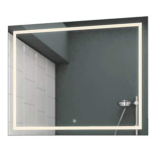 Allegro Spiegel (Concept2u® LED Badspiegel Badezimmerspiegel Wandspiegel 3000K Warmweiß inkl. Touch Schalter/Dimmer 100 cm Breit x 80 cm Hoch Allegro Licht umlaufend)