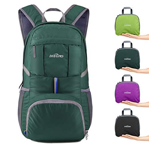 IREGRO 35 Liter Faltbarer Rucksack Leichter Tagesrucksack, für Outdoor Wandern Reisen (Dunkelgrün)