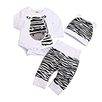 Boys Clothes, SHOBDW Newborn Infant Baby Girls Clothes Cute Cartoon Zebra Print Tops + Long Pants + Hat Cotton Outfits Set