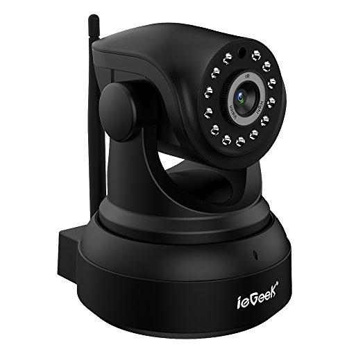 Überwachungskamera ip kamera HD 720P von ieGeek, W-LAN Innen-kamera, Startseite Baby Monnitor Zwei Wege Video/Audio, IR Nachtsicht, Unterstützungs 64GB SD Karte, Schwarz