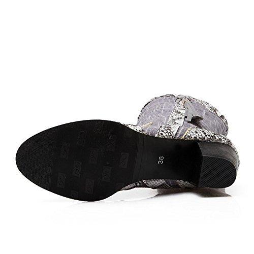 TAOFFEN Damen Schlangendruck der koreanischen Art Blockabsatz Schuhe Mitte Wade Fransen Stiefel Grau