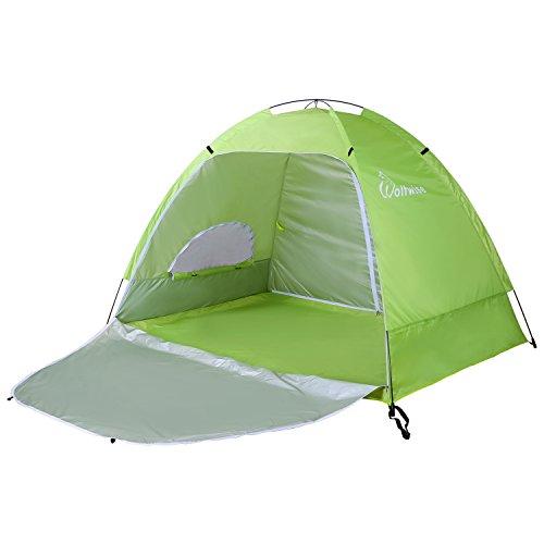 WolfWise UPF 50+ UV Schutz Strandmuschel, Pop Up Familien/ Baby Sonnenschutz Strandzelt, Selbstaufbauend Automatisch Schutzzelt Sonnenschirm, Tragbar