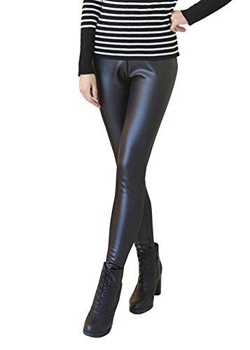 Mujer Polainas Pantalones Cuero De Imitación Leggings Mallas Espesor Invierno Elástico Slim Fit Negro XXL
