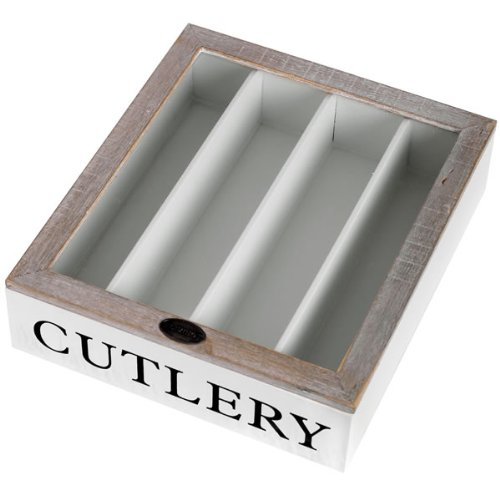 White Wooden Country Style Cutlery Box Tray