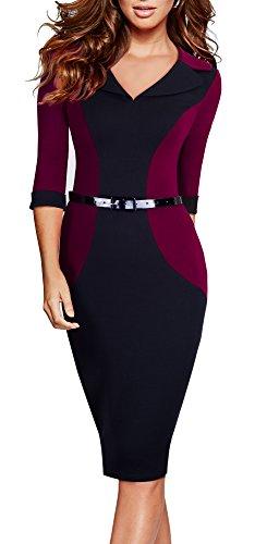 HOMEYEE Femmes élégantes couleur Block Lapel 3/4 manches officielles bureau dames usure Robe B354 Carmin