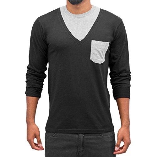 Cazzy Clang Herren Oberteile / Longsleeve Breast Pocket Black