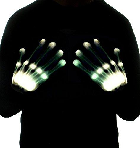r ab 3 - 13 Jahre, DMbaby Geschenke für Mädchen Jungs LED Blinklicht Bunte Rave Party Handschuhe Weiß G08 (Gute Halloween Spiele Für Erwachsene)