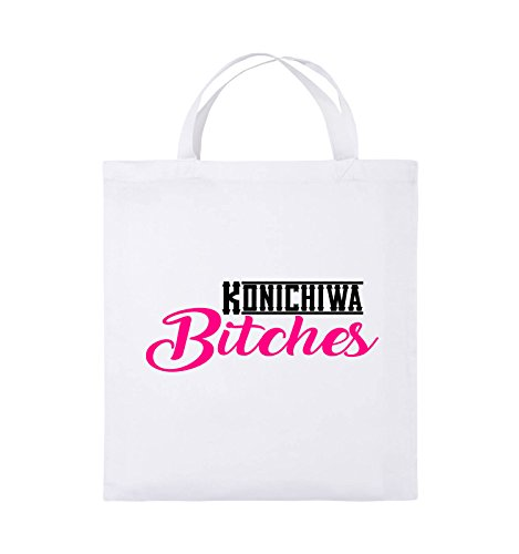 Comedy Bags - KONICHIWA Bitches - Jutebeutel - kurze Henkel - 38x42cm - Farbe: Schwarz / Weiss-Neongrün Weiss / Schwarz-Pink