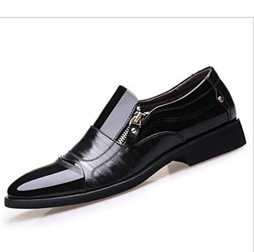Große Atmungsaktive Slips (TAZAN Herren Business Spitzen Schuhe Reißverschluss Slip Kleid Leder Retro Freizeitschuhe Rutschfeste atmungsaktiv Größe,Black,48)
