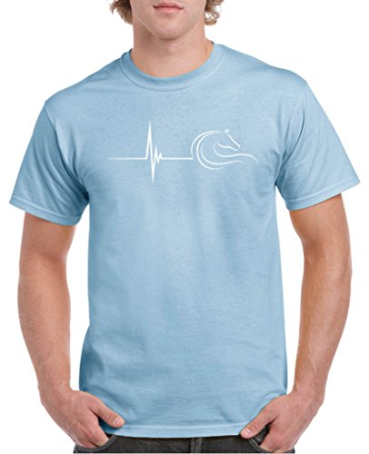 Comedy Shirts - Pulsschlag Pferd - Herren T-Shirt - Hellblau/Weiss Gr. L