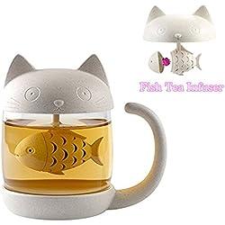 Taza de té de cristal de gato y pez con Filtro filtro de infusión 250ml (8oz)