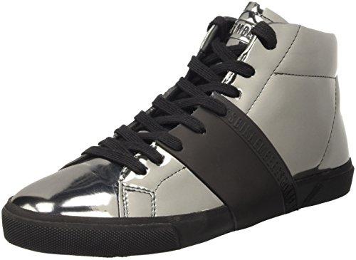 Bikkembergs Rubb-Er 752 Mid Shoe M Lame' , Baskets Hautes Femme Gris - Grigio (Matte Gun/Black)
