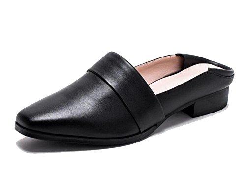 GLTER Sandali cuoio freddo pantofole scarpe Baotou Pantofole Slip-On folta fannullone pantofole pelle bovina femminile sandali pattini degli appartamenti Black