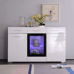 MECOR White High Gloss Sideboard Cabinet Cupboard, 150cm 3 Doors & 2 Drawers with LED lighting Sideboard Cabinet High Gloss White Chest of Drawers for living room dining room