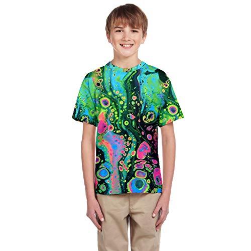 feiXIANG Mädchen Jungen T-Shirt 3D Drucken Blusen Tops Sommer Teen Kleinkind Unisex Freizeitkleidung 7-14 Jahre(Grün,XL/13-14 Jahre)