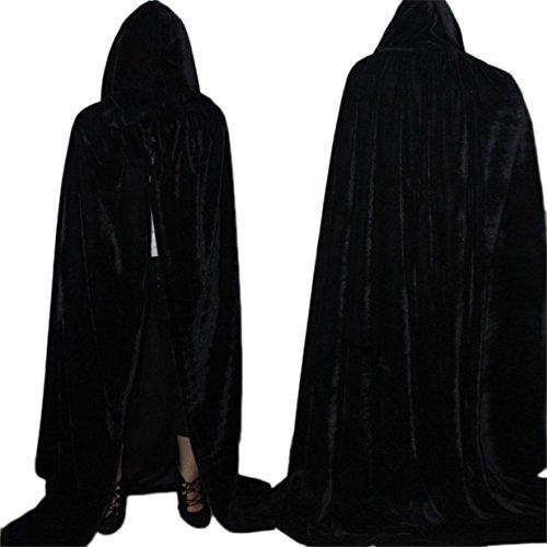 Lalang Umhang mit Kapuze Lange Samt Cape Vampir Kostüm Halloween Erwachsener Unisex (170cm, Schwarz)