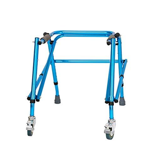 Relaxbx Gehhilfen , Rollator-Gehhilfen Leichter Assistent 4-Bein-Stöcke Faltwagen Vier Räder mit Bremshöhe einstellbar Blau