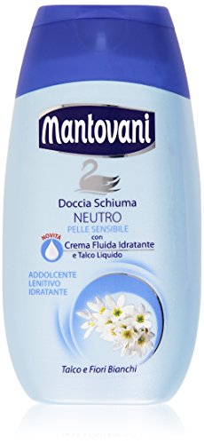 Mantovani - Doccia Schiuma, Neutro, con Crema Fluida Idratante e Talco Liquido - 250 ml