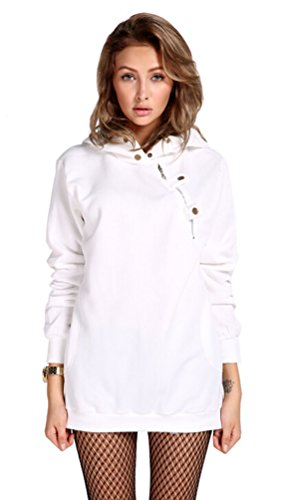 Ghope Femme Printemps Automne Mode Sweat À Capuche Sweatshirt Avec Cordon De Serrage Hoodies Blouse Tops Blanc