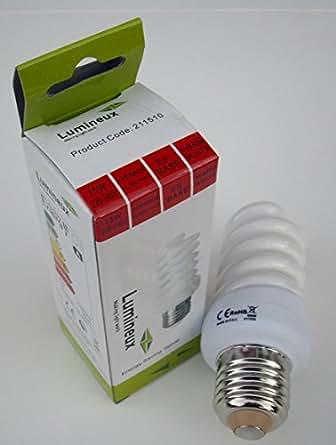 Lumineux Ampoule spirale basse consommation 15W = 75W équivalent à culot à vis ES E27Base Couleur Blanc chaud 2700K 800Lumen