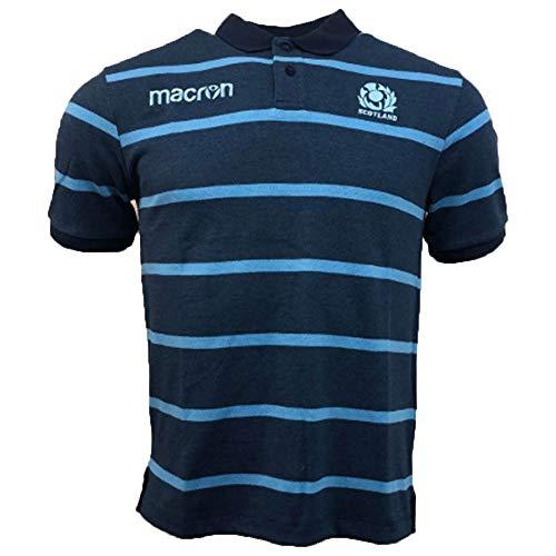 Macron 2018-2019 Scotland Rugby Stripe Poly Cotton Polo Shirt (Blue) (Polo-shirt Stripe Rugby Herren)