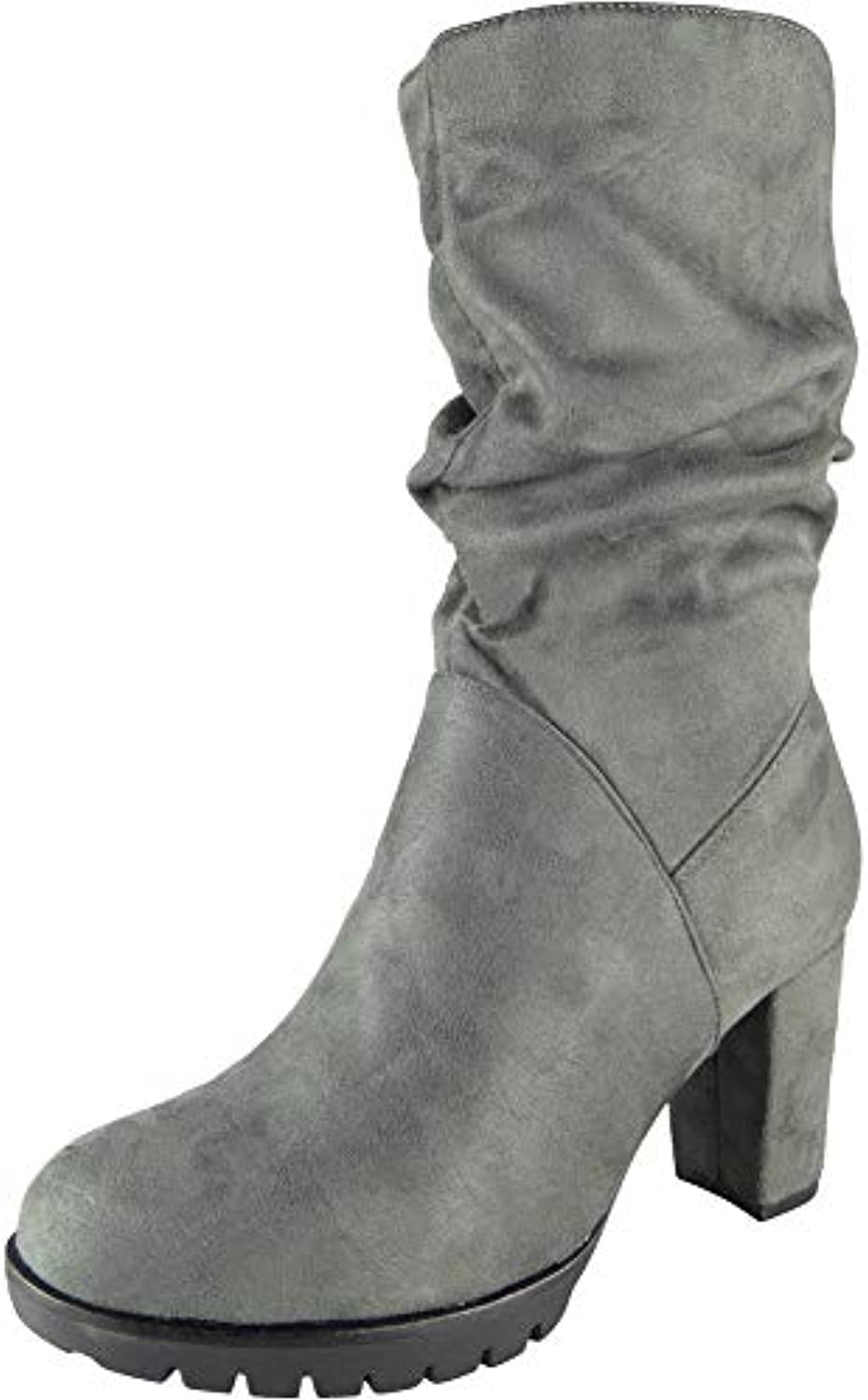 c38b361e4fd1 Womens Mid Calf Rouched Boots Faux Suede Grip Sole Fashion Fashion Fashion  Zip Casual Ladie Size