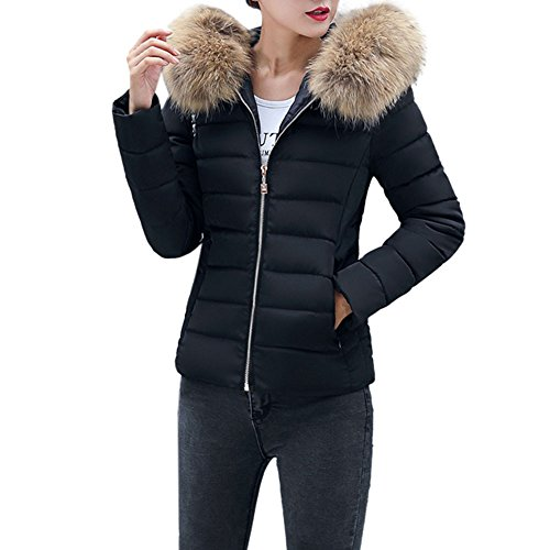 MYMYG Damen Warm Mantel Wintermantel Kurz Winterjacke Dickere mit Kapuze Slim Fit Outwear Baumwollkleidung Parkajacke Reißverschluss Jacke Steppjacke mit Pelz Halsband (EU:38/CN-M, Schwarz)