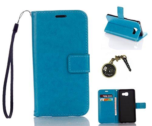 für Smartphone Samsung Galaxy A5 (6) SM-A510F (2016) Hülle, Leder Tasche für Samsung Galaxy A5 (6) SM-A510F (2016) Flip Cover Handyhülle Bookstyle mit Magnet Kartenfächer Standfunktion ( + Staubstecker) (6DD)