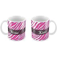Tazza personalizzata rosa zebra stampa aggiungere il tuo nome Idea Regalo Natale 174