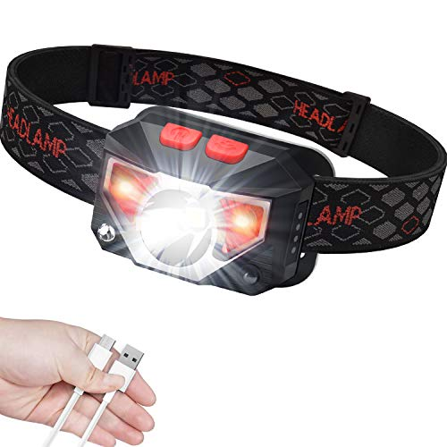 41mTtFza8sL - Anecity USB Rechargeable LED Head Torch, Super Bright Headlamp with IPX45 Waterproof