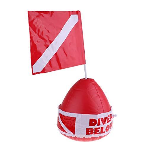 F Fityle Bouée de Plongée sous-Marine Drapeau de Plongée Flotteur Gonflable pour Bain de Plongée Extérieur Rouge