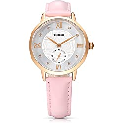 Time100 Retro Roman Numerals Dial Genuine Leather Band Quartz Watch for Ladies Pink#W80099L.03A