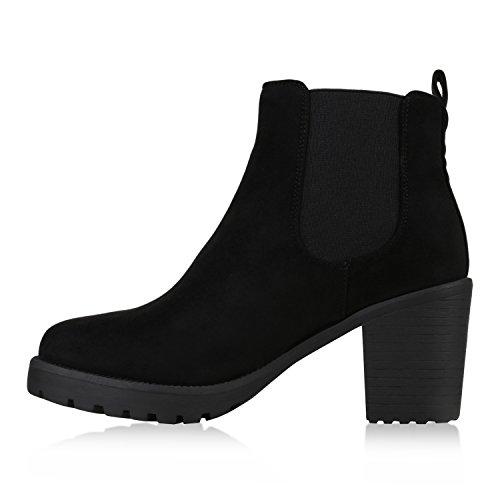 Stiefelparadies Damen Stiefeletten Wildleder-Optik Glitzer Chelsea Boots Animal Prints Profilsohle Knöchelhohe Stiefel Flandell Schwarz Agueda