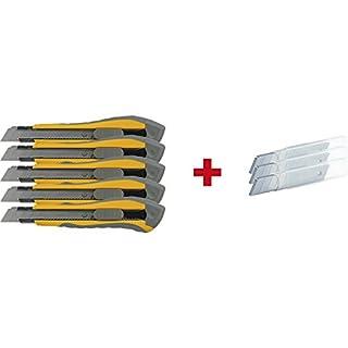 SECOTEC Cutter Set 8-teilig | 5x Cuttermesser 18mm Klinge | 3x Ersatz-Klingenbox (10 Stk)