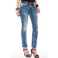 Cipo&Baxx WD363 Regular Fit Yıkamalı Mavi Bayan Kot Pantolon