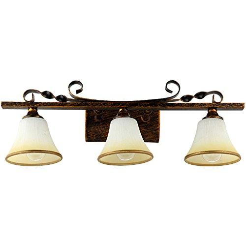 Fu Man Li Trading Company In stile europeo Ferro impermeabile Bagno specchio frontale Lights (Genuino Nero Piastra)