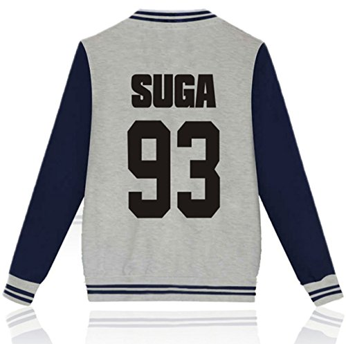 SERAPHY BTS Felpe con cappuccio Bangtan boys Giacca da baseball per uomini e donne Suga Jin Jimin Jung Kook J-Hope Rap-Mostro V Grigio-93-SUGA