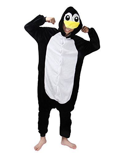 LATH.PIN Unisex Adulto Cosplay Halloween Costume Animale Pigiama Tuta (L, Pinguino)