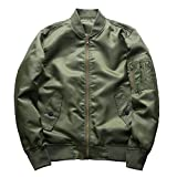 Vertvie Herren Bomberjacke Military Flight Pilot Jacken männlichen Mantel College Oberbekleidung(Armeegrün, XL)