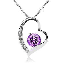 J.Vénus Para Mujer Joyas, Collar de Plata con Colgante de Plata de ley 925 Zirconia 45cm / Collar, Joyería con el Caso (eterno amor -Mamá)