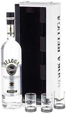 Beluga Export Noble Russian Wodka in Ledertasche mit 3 Gläsern (1 x 0.7 l)