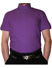 7ce303ef120f Designer Herren Hemd Slim Fit tailliert klassischer Kragen Kurzarm  Bügelfrei viele Farben Slimfit Bodyfit