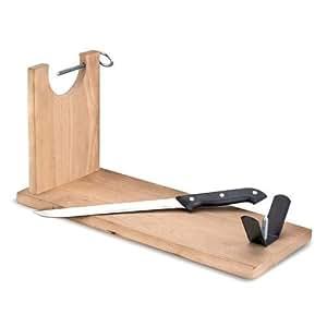 jago support jambon skhl01 en bois 39 cm de longueur couteau inclu. Black Bedroom Furniture Sets. Home Design Ideas