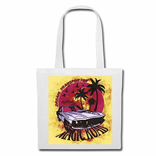 """Preisvergleich Produktbild Tasche Umhängetasche """"DREAM TRANSPORTER MAGIC ROAD HOT ROD V8 HOT ROD US CAR MUCLE CAR V8 ROUTE 66 USA AMERIKA """" Einkaufstasche Schulbeutel Turnbeutel in Weiß"""