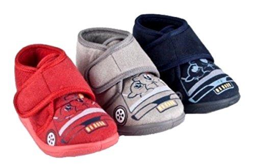 Immerschön Kinder-Hausschuhe in vielen Farben Schlappen Pantoffeln für Mädchen und Jungen grau Teddies im Auto Gr. 24