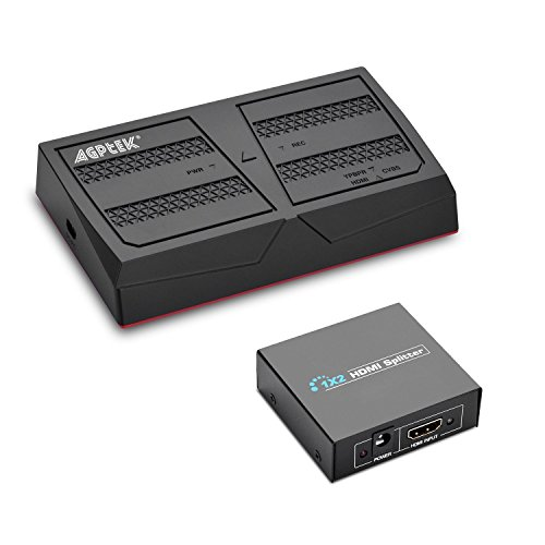 AGPTEK 1080P HD Video Game Capture Kit mit Splitter Live-Streaming mit Fernbedienung für PS4 und PS3, Xbox One, N64, Blu-ray über HDMI, Ypbpr Komponente / AV Composite Eingang, USB Flash, SD Karte Composite-video-splitter
