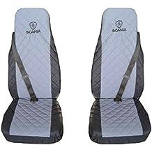 Fundas de asiento para camión, para Scania 4Serie R, negro y gris, 2 unidades