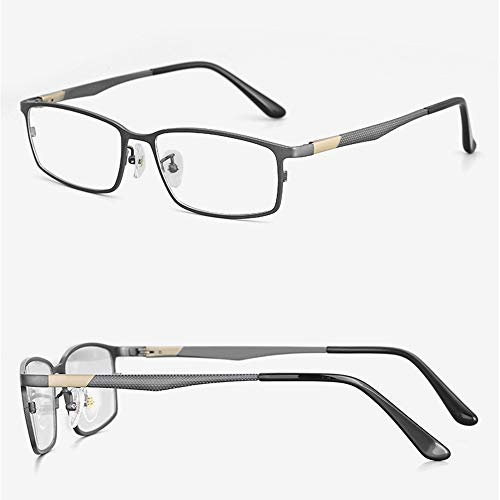 HAIBUHA Brille Ultraleicht Reines Titan Vollbild Geschäft Brillengestell Frühling Bein Flacher Spiegel Männlich (Farbe : Gun Color)