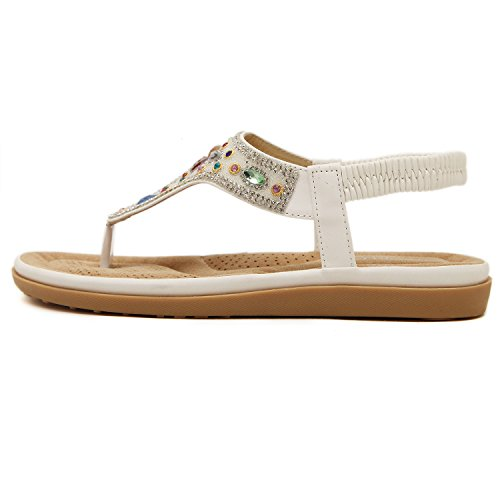 dqq Femme Exotique String Perles Plat Sandales Blanc - blanc